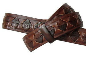 เข็มขัด Handmade สีน้ำตาล ถักลายหลามตัด, กว้าง 1.3 นิ้ว