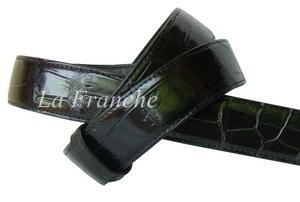 เข็มขัดหนังจระเข้แท้ ส่วนท้อง สีดำ กว้าง 1.3 นิ้ว