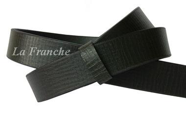 เข็มขัดหนังแท้แผ่นเดียว ลายมุ้ง สีดำ, กว้าง 1.2 นิ้ว