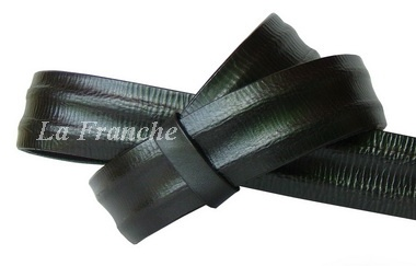 เข็มขัด Handmade ลายจีบข้าง สีดำ, กว้าง 1.5 นิ้ว