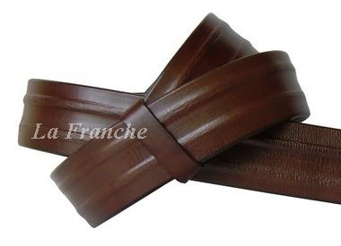 เข็มขัด Handmade ลายจีบข้าง สีน้ำตาล, กว้าง 1.5 นิ้ว - code 5a00402
