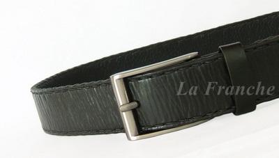 เข็มขัด Handmade สีดำ พร้อมหัวเข็มขัดนิกเกิ้ล, กว้าง 1.5 นิ้ว