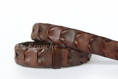 เข็มขัด Handmade สีน้ำตาล ลายเปียซ้อน , กว้าง 1.3 นิ้ว