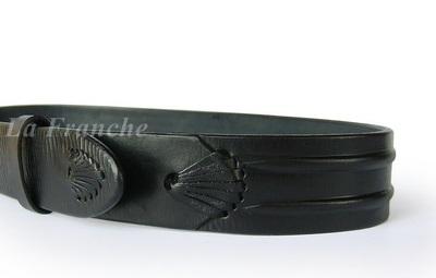 เข็มขัด Handmade หัวชุดจีบข้างดำ , กว้าง 1.5 นิ้ว