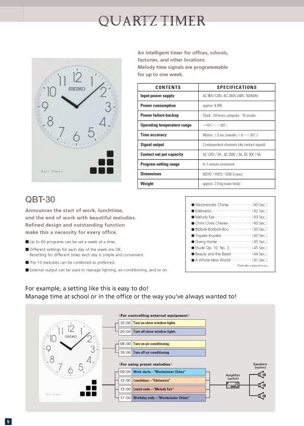 นาฬิกา สำหรับ ควบคุม การเปิดปิด เครื่องใช้ไฟฟ้าต่าง ๆ และ ออด โรงงาน ยี่ห้อ Seiko