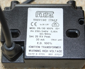 F.i.d.a TREVISO ITALY, MOD 26/30 ignition transformer