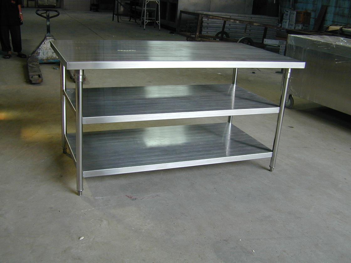 โต๊ะสเตนเลสหน้าเรียบ 3 ชั้น No.T11