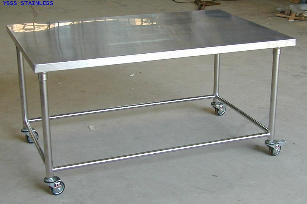 โต๊ะสเตนเลสหน้าเรียบมีล้อเลื่อน No.T16