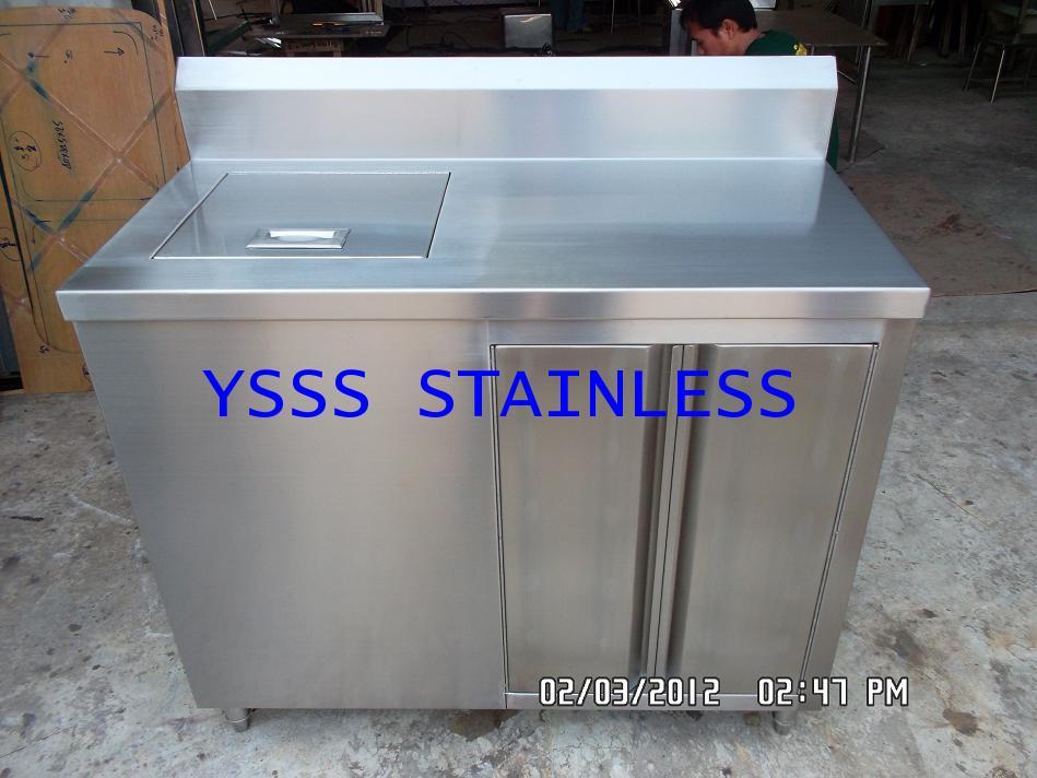 ตู้เก็บน้ำแข็งสเตนเลส+ตู้เก็บของ NO.ICB7