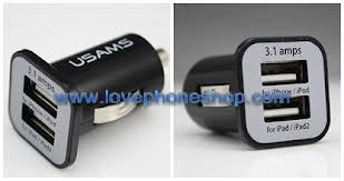 ที่ชาร์จรถ ยี่ห้อ USAMS แบบ 2 USB ขนาด 3.1 A for Samsung,iPhone และ สมารท์โฟนรุ่นอื่น ฯลฯ (ส่งฟรี)