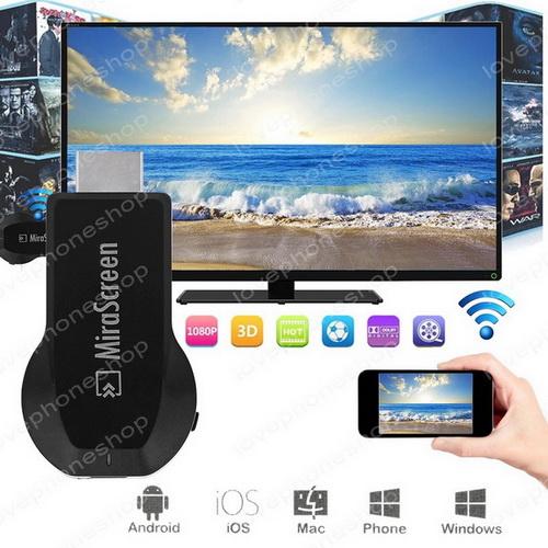 ตัวแปลงสัญญาณภาพ มือถือ/แท็บแล็ต ขึ้นจอ ทีวี ผ่าน WIFI HDMI Dongle For TV (ส่งฟรี)