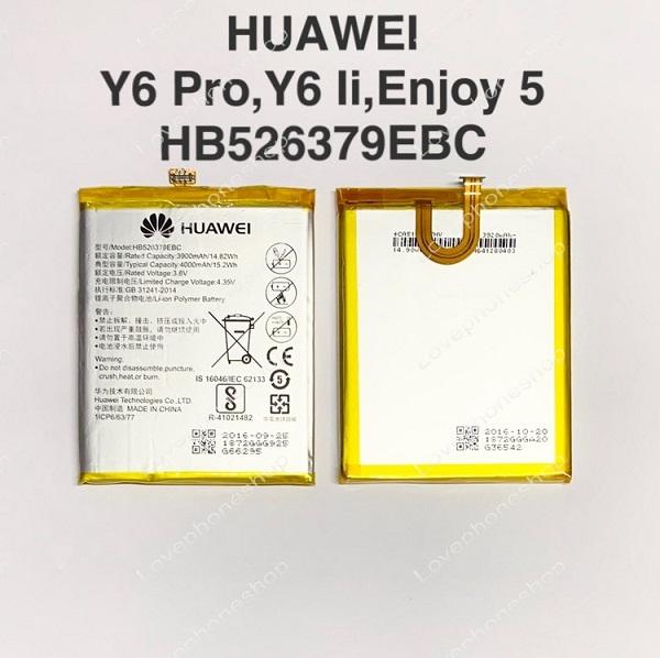 แบตเตอรี่แท้ HUAWEI Y6 Pro,Y6 Ii,Enjoy5 รหัส HB526379EBC (ส่งฟรี)