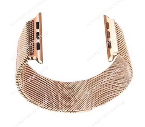สายนาฬิกา Apple Watch Stainless Steel Mesh Milanese Loop สีRoseGose Series1/2/3/4 -42,44 mm.(ส่งฟรี)
