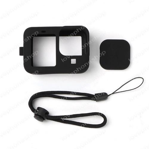 เคส Gopro 10 Black ,9 Black แบบซิลิโคน สีดำ (Silicone Case+adjustable rope+lens cap)