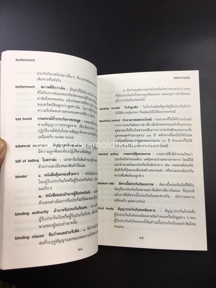พจนานุกรมศัพท์ประกันภัย อังกฤษ - ไทย  ฉบับราชบัณฑิตยสถาน 1