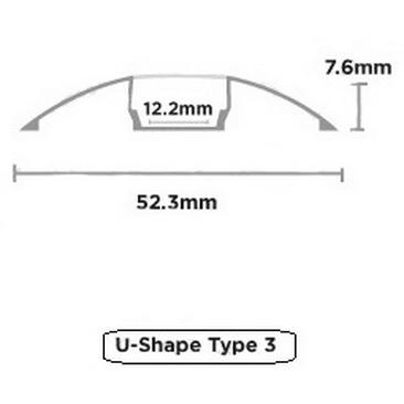 ชุดรางอลูมิเนียมโค้ง U-shape Set 1M 1