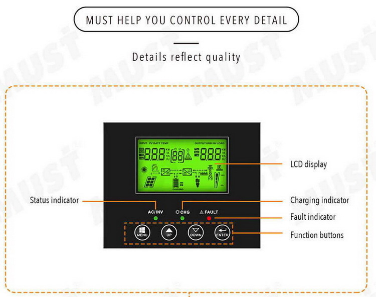 Must High Frequency Solar Inverter PV1800 VPK Series 1KW 2