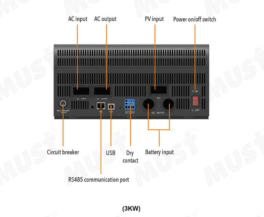 Must High Frequency Solar Inverter PV1800 VPM Series 3KW 4