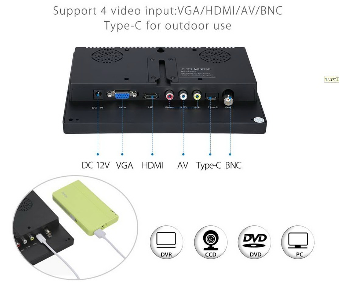 Eyoyo Monitor TFT LCD 8 นิ้ว 4:3  รับประกัน 1 ปี 2