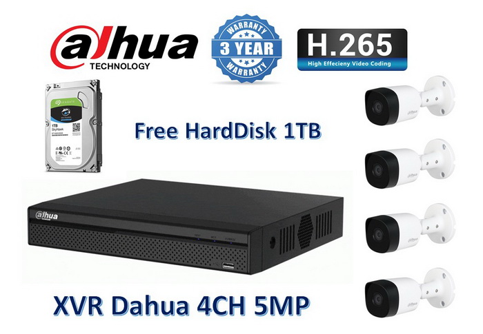 Dahua B2A21 ชัด 2 ล้าน 4ตัว +DVR 4ช่อง +HDD 1TB+Adapter12v+สายกล้องสำเร็จยาว 10m