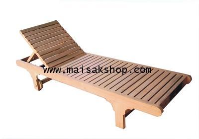 เฟอร์นิเจอร์ไม้สัก (Furniture)เตียงสนาม,เตียงสนามไม้,เตียงสระน้ำไม้สัก แบบมีล้อส่วนหัวตัดตรง