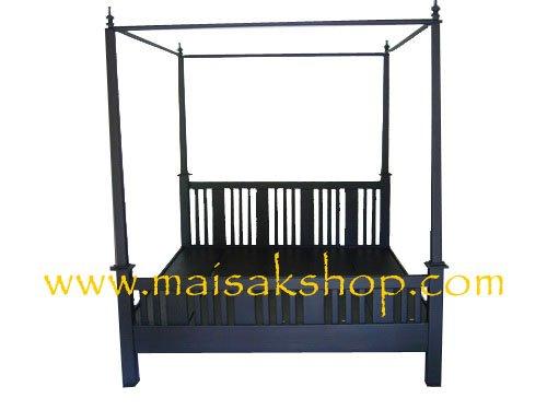 เฟอร์นิเจอร์ไม้สัก(Furniture) เตียง,เตียงไม้, เตียงไม้สัก,เตียงนอนไม้สักแบบมีเสา ส่วนหัวเป็นไม้ซี่