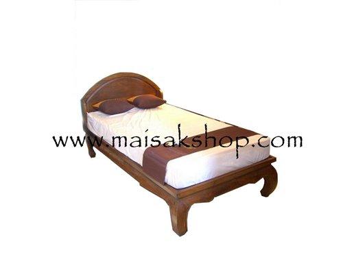 เฟอร์นิเจอร์ไม้สัก (Furniture) เตียง,เตียงไม้, เตียงไม้สัก,เตียงนอนไม้สัก แบบหัวครึ่งวงกลม ขาคู้