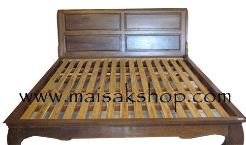 เฟอร์นิเจอร์ไม้สัก(Furniture) เตียง,เตียงไม้, เตียงไม้สัก,เตียงนอนไม้สัก แบบขาคู้ ปูด้วยไม้ระแนง
