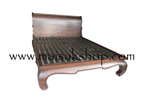 เฟอร์นิเจอร์ไม้(Furniture) เตียง,เตียงไม้,เตียงไม้สัก,เตียงนอนไม้สักแบบขาคู้ มีขอบข้าง พื้นไม้ระแนง