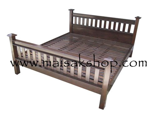 เฟอร์นิเจอร์ไม้(Furniture) เตียง,เตียงไม้, เตียงไม้สัก,เตียงนอนไม้สักแบบส่วนหัวและส่วนท้ายเป็นไม้ซี่