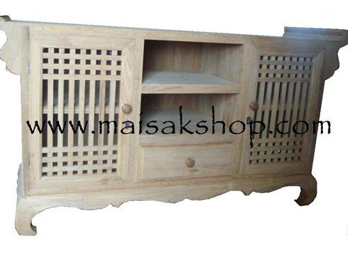 เฟอร์นิเจอร์ไม้(Furniture) ตู้,ตู้โชว์,ตู้โชว์ไม้สักพร้อมวางทีวีมีลิ้นชักตรงกลางมีขอบกันของตก 2 ข้าง
