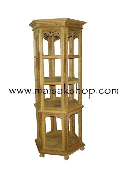 เฟอร์นิเจอร์ไม้สัก(Furniture) ตู้,ตู้โชว์,ตู้โบราณ,ตู้โบราณไม้,ตู้โบราณไม้สักแบบ 6 เหลี่ยม