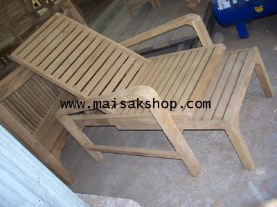 เฟอร์นิเจอร์ไม้สัก (Furniture)เตียงสนาม,เตียงสนามไม้,เตียงสระน้ำไม้สักแบบที่พักขาสามารถเลื่อนได้