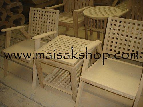 เฟอร์นิเจอร์ไม้สัก (Furniture) ชุดรับแขกไม้สัก แบบที่พิงหลังเป็นตาราง พร้อมโต๊ะกลางแบบตาราง