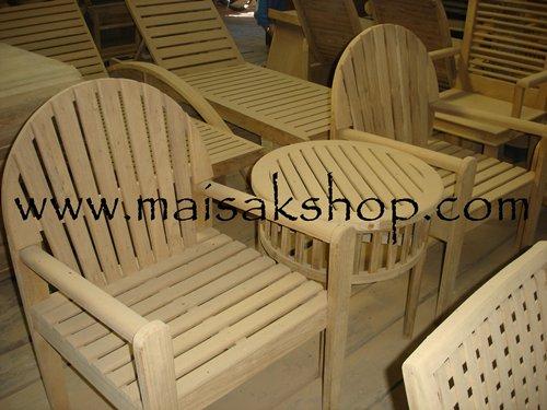 เฟอร์นิเจอร์ไม้สัก (Furniture) ชุดรับแขกไม้,ชุดรับแขกไม้สัก แบบที่พิงหลังเป็นครึ่งวงกลม