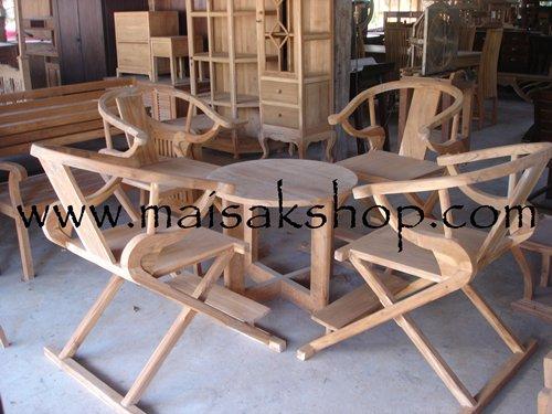 เฟอร์นิเจอร์ไม้สัก (Furniture) ชุดรับแขกไม้,ชุดรับแขกไม้สัก แบบเก้าอี้รูปเกือกม้า