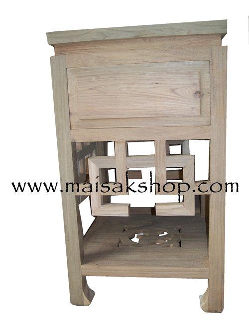เฟอร์นิเจอร์ไม้สัก (Furniture) ตู้หัวเตียงไม้สักหรือตู้ข้างเตียงไม้สัก สไตล์จีน