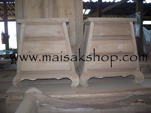 เฟอร์นิเจอร์ไม้สัก (Furniture) ตู้หัวเตียงไม้สักหรือตู้ข้างเตียงไม้สัก แบบขาคู้รูปทรงเหลี่ยม