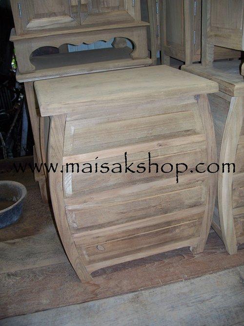 เฟอร์นิเจอร์ไม้สัก (Furniture)  ตู้หัวเตียงไม้สักหรือตู้ข้างเตียงไม้สักแบบขาคู้รูปทรงวงลี