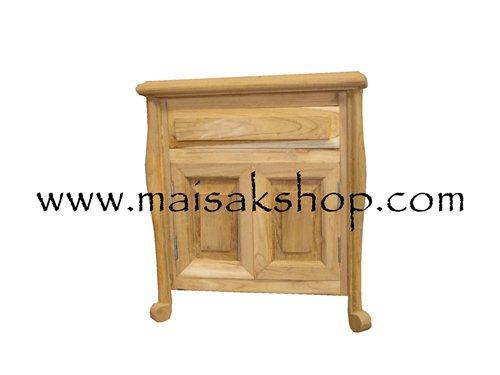 เฟอร์นิเจอร์ไม้สัก (Furniture) ตู้หัวเตียงไม้สักหรือตู้ข้างเตียงไม้สัก แบบรูปทรงโบราณ