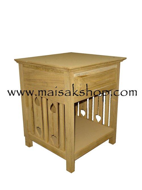 เฟอร์นิเจอร์ไม้สัก (Furniture) ตู้หัวเตียงไม้สักหรือตู้ข้างเตียงไม้สัก แบบฉลูลายข้าง