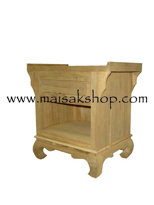 เฟอร์นิเจอร์ไม้สัก (Furniture) ตู้หัวเตียงไม้สักหรือตู้ข้างเตียงไม้สักแบบไทยโบราณขาคู้