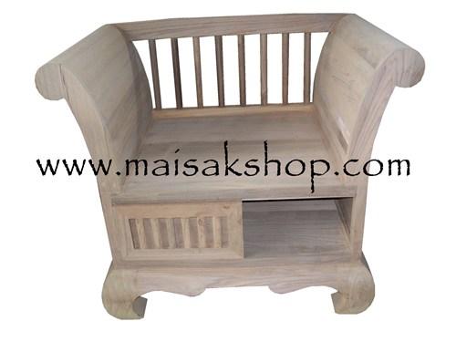 เฟอร์นิเจอร์ไม้สัก (Furniture)เก้าอี้ไม้, เก้าอี้ไม้สัก 1 ที่นั่งแบบบาหลี่พร้อมที่เก็บของด้านล่าง