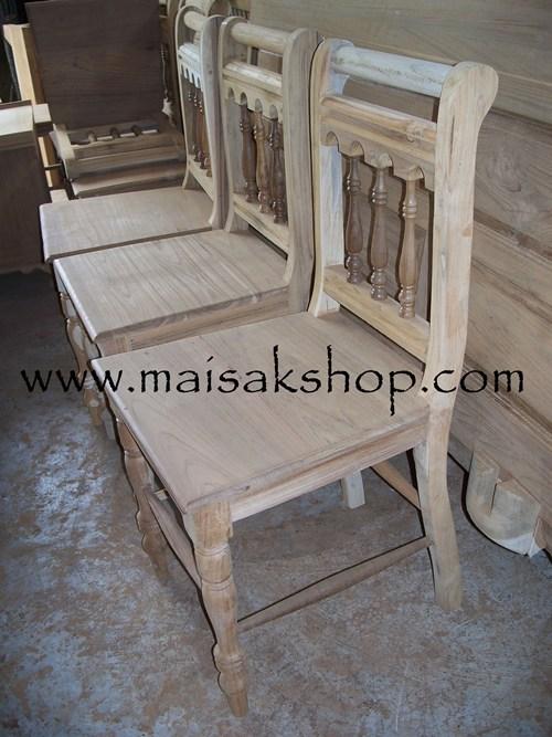 เฟอร์นิเจอร์ (Furniture)   เก้าอี้,เก้าอี้ไม้,เก้าอี้ไม้สักแบบเล่นลายลูกกลึงพนักพิงหลังและขาด้านหน้า