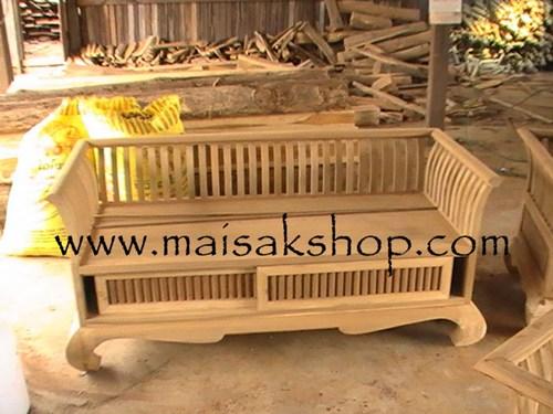 เฟอร์นิเจอร์ไม้สัก (Furniture) เก้าอี้ไม้, เก้าอี้โซฟาไม้สัก3 ที่นั่งแบบบาหลี่มีที่เก็บของด้านล่าง