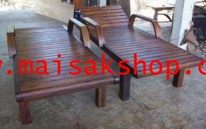เฟอร์นิเจอร์ไม้สัก (Furniture) เตียงสนามไม้,เตียงสนาม,เตียงสระน้ำ,เตียงสระน้ำไม้สัก แขนตัว c