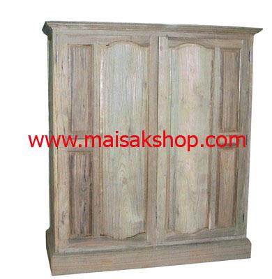 เฟอร์นิเจอร์ไม้สัก (Furniture) ตู้,ตู้เสื้อผ้าไม้,   ตู้เสื้อผ้าไม้สัก แบบ 2 บานใหญ่เล่นลายลูกฟัก