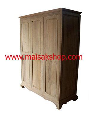 เฟอร์นิเจอร์ไม้สัก(Furniture)  ตู้,ตู้เสื้อผ้าไม้,   ตู้เสื้อผ้าไม้สัก แบบ 3 บาน  เล่นลายลูกฟัก
