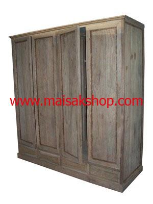 เฟอร์นิเจอร์ไม้สัก (Furniture) ตู้,ตู้เสื้อผ้าไม้,   ตู้เสื้อผ้าไม้สัก แบบ 4 บาน 4 ลิ้นชัก