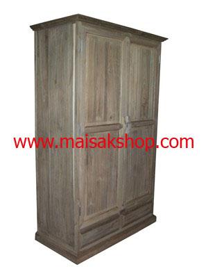 เฟอร์นิเจอร์ไม้สัก (Furniture) ตู้เสื้อผ้าไม้สักแบบ 2 บาน เล่นลายลูกฟักมือจับแบบโบราณ